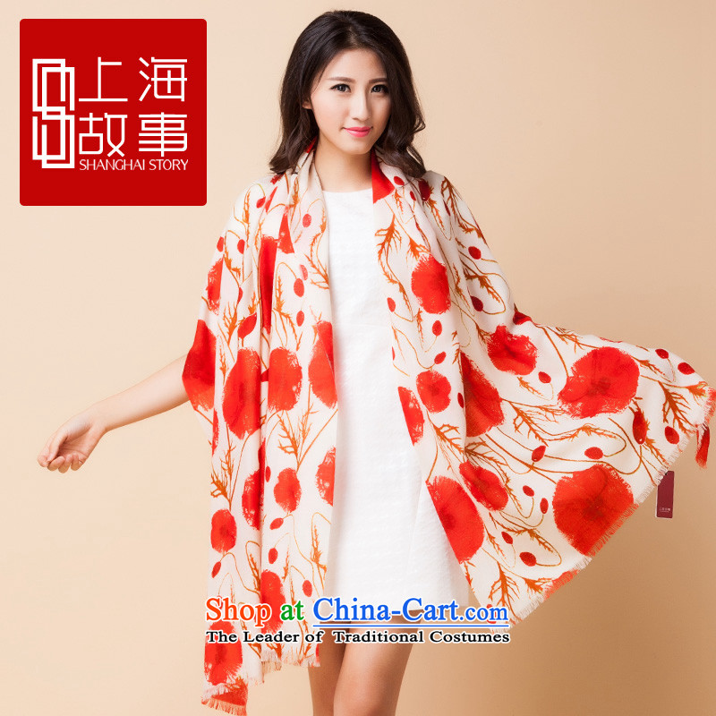 Shanghai Story Ms. pashmina long autumn warm winter Pure wool a shawl Two splined Gigi Lai Lai Ying Chun Man Pujiang - Orange Red