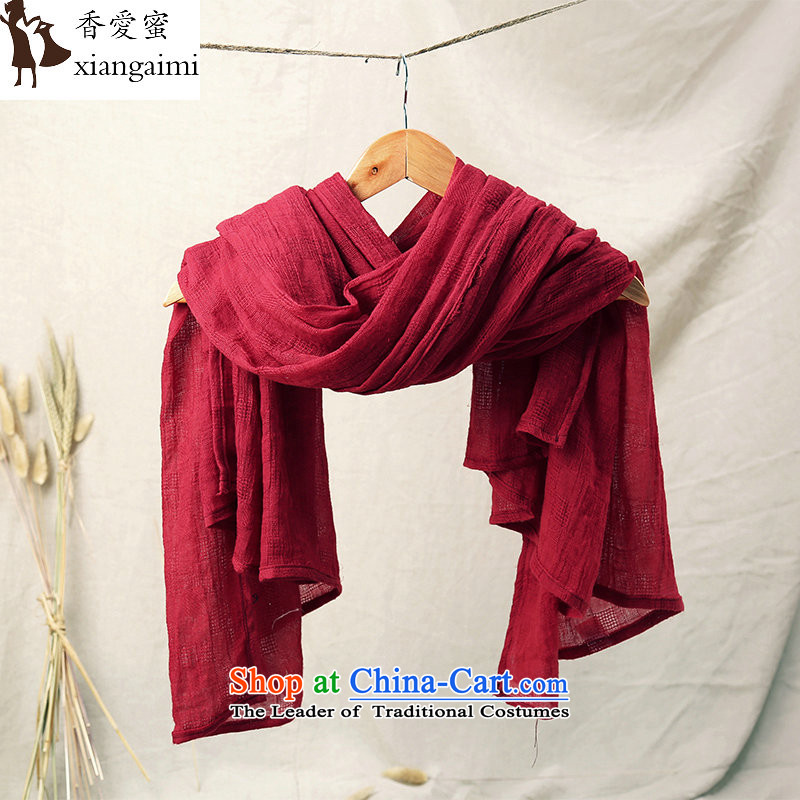 The Champs Elysees Honey Love 2015 fourth quarter washable Pure Cotton Fan Sen of the arts and cultural commission retro leisure pure color-grown up Fancy Scarf beach shawl wine red