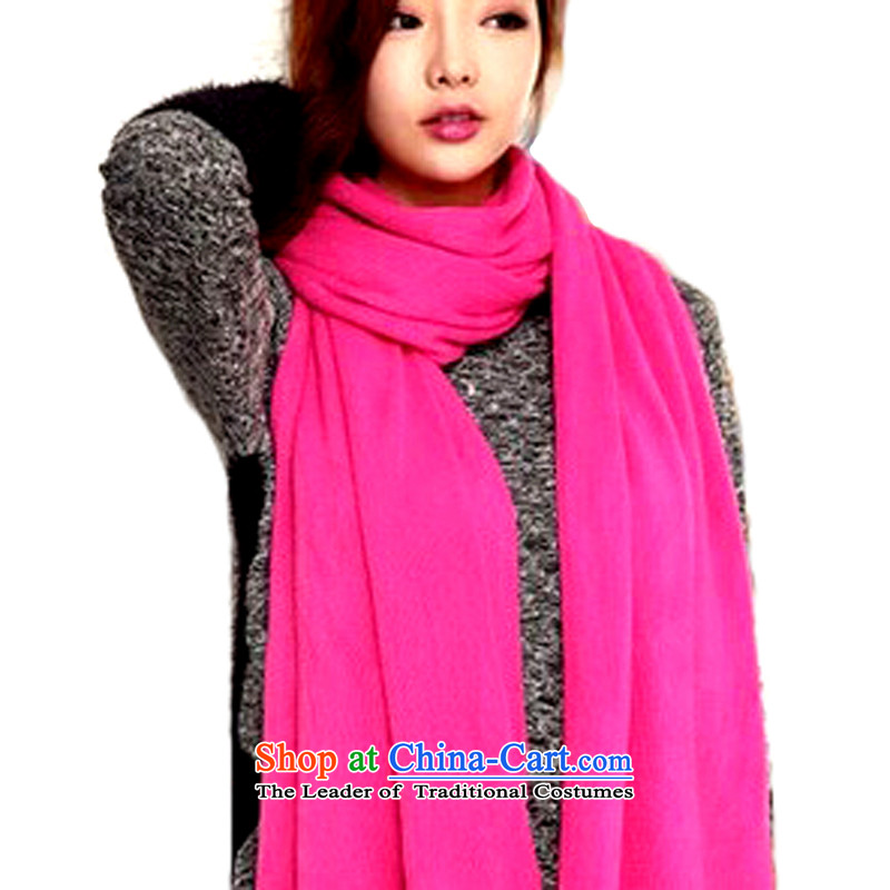 Knight of the Korean version of the golden autumn and winter, men and women's solid color shawl long thickened air conditioning thermal couples Knitting scarves knitted by red200_55cm
