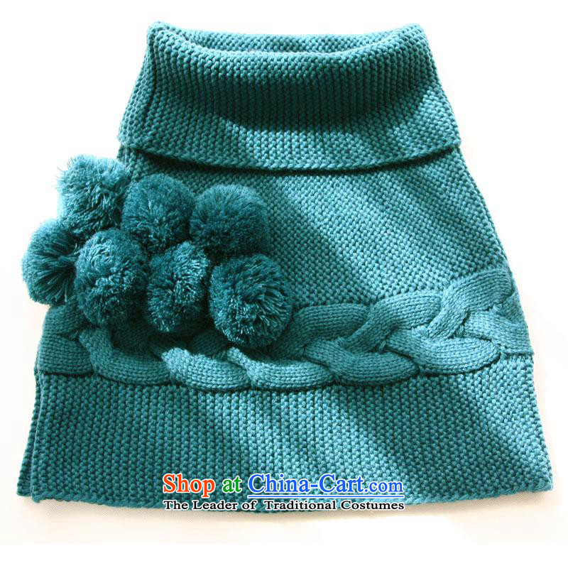 The charming smile scarf female autumn and winter new pure color knitting to a lovely shawl cloak warm winter lake blue