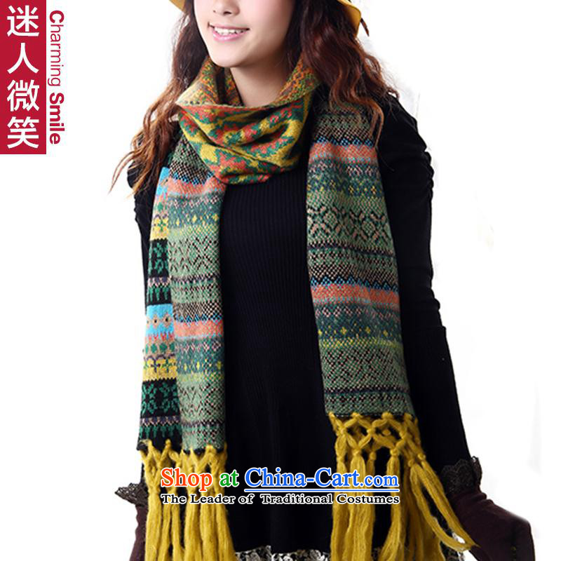 Cs charming smile autumn and winter 2014 New 2 Diamond edging grid emulation cashmere knitting Korean womens thick warm scarf MJ1007 yellow