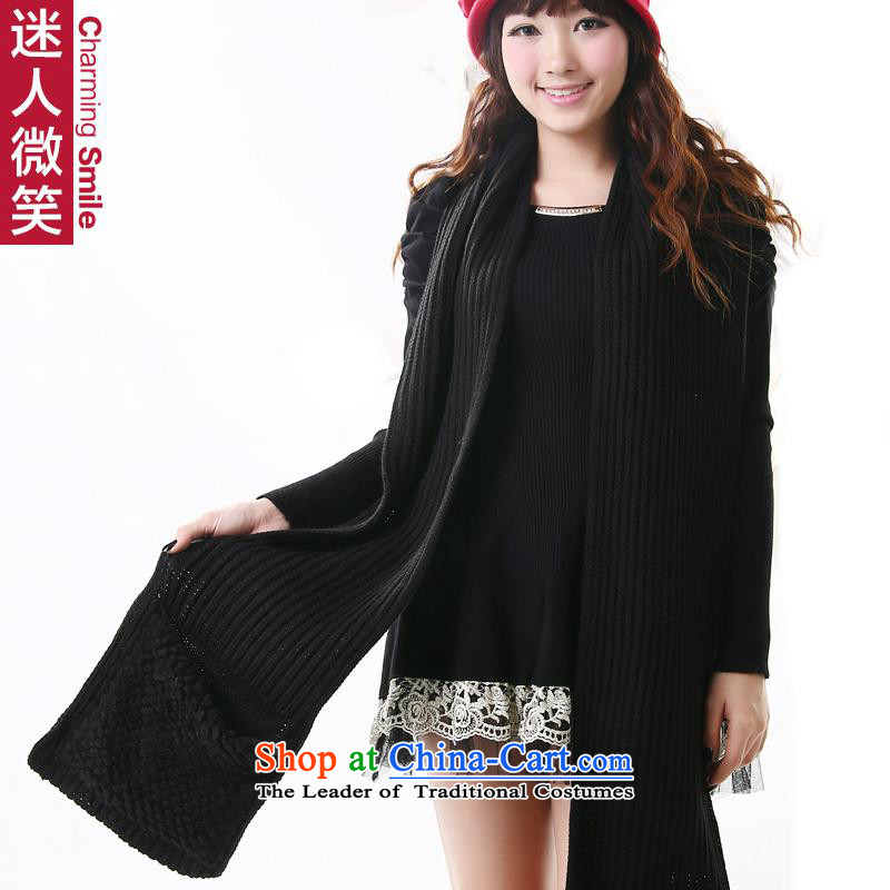 The charming smile autumn and winter Korean Woman's solid thick louvers pocket wild knitted warm Black Scarf