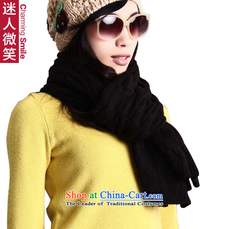 The charming smile Korean autumn and winter thick warm mohair pure color Knitting scarves knitted long Korean men and women couples black