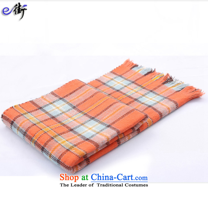 E street 2015 autumn and winter new Korean edition thickness and cooling compartments Knitting scarves shawl, winter Plaid Knitting scarves orange 55*200 Long