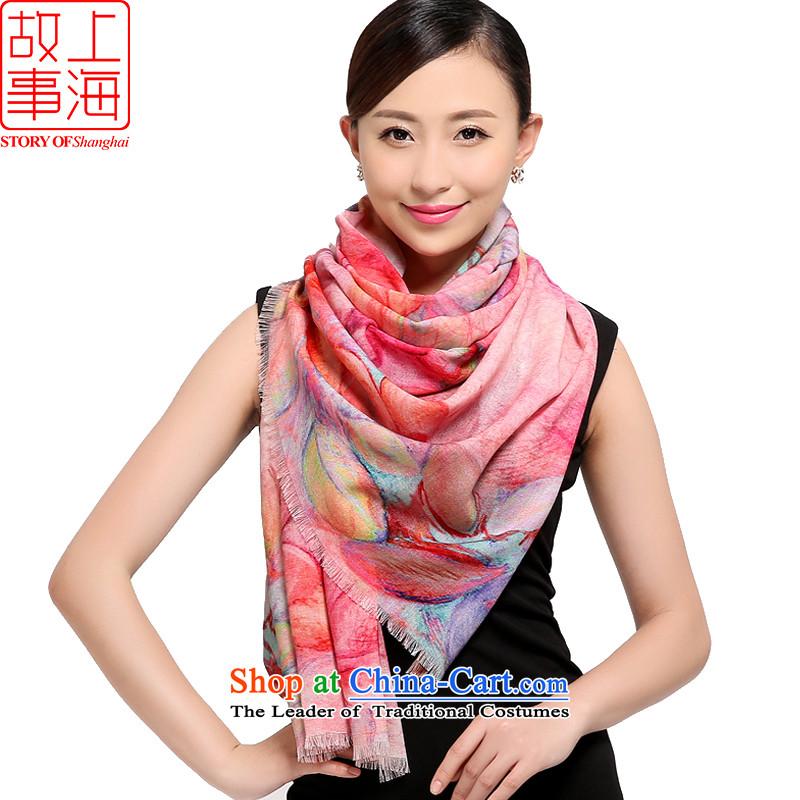 Shanghai Story2015 New 80 digital inkjet o wool scarves, warm winter shawl long a toner spend romantic 178003 toner spend romantic orange Pink
