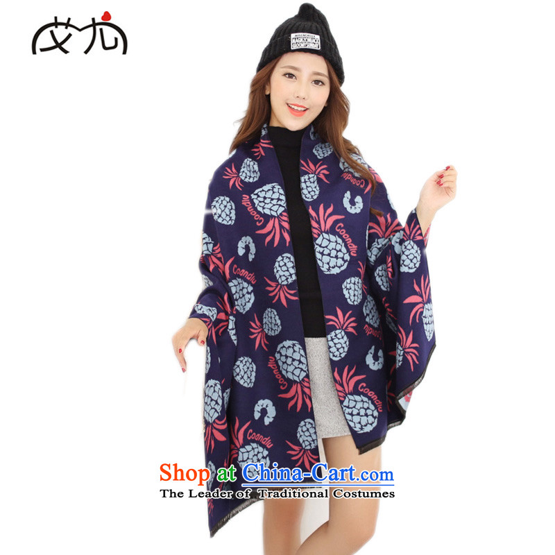 In particular HIVNEW 2015 autumn and winter emulation cashmere Korean idyllic fruit pineapple duplex Fancy Scarf two with women Navy