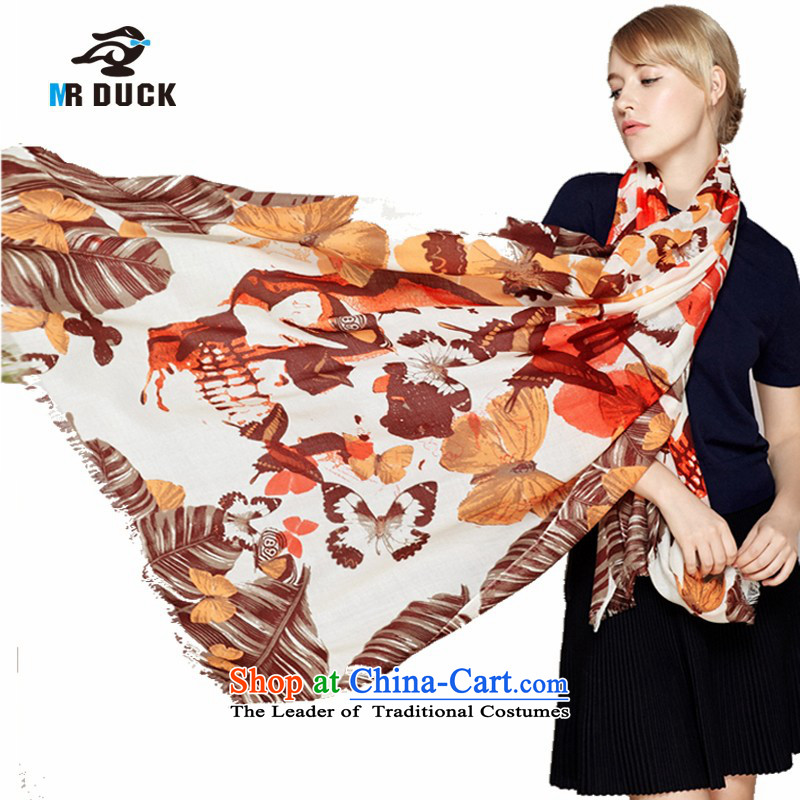 Mrduck autumn and winter wooler scarf Girl ) with satin woolen shawl warmMW15201- Butterfly Dance Orange Coffee