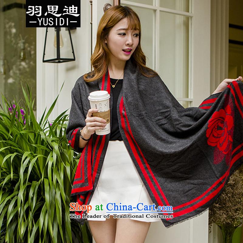 Cisco's2015 Autumn Yu new stylish lady wild fancy scarf double-sided wear peony flowers /pashmina shawl female red are code