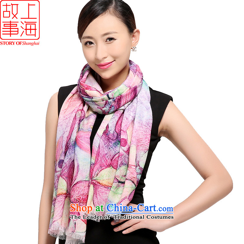 Shanghai Story 2015 New 80 digital inkjet o wool scarves, warm winter shawl long a toner spend romantic 178003 toner spend romantic Purple
