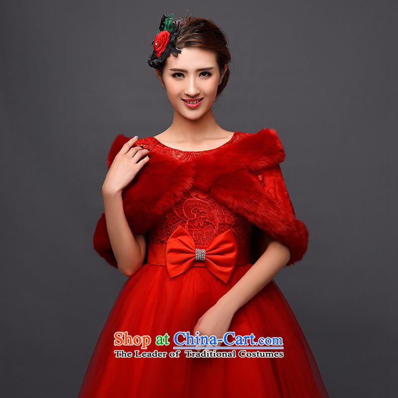 Warm winter gross shawl red bride wedding wedding dresses marriage cloak qipao shirt fur shawl female Red