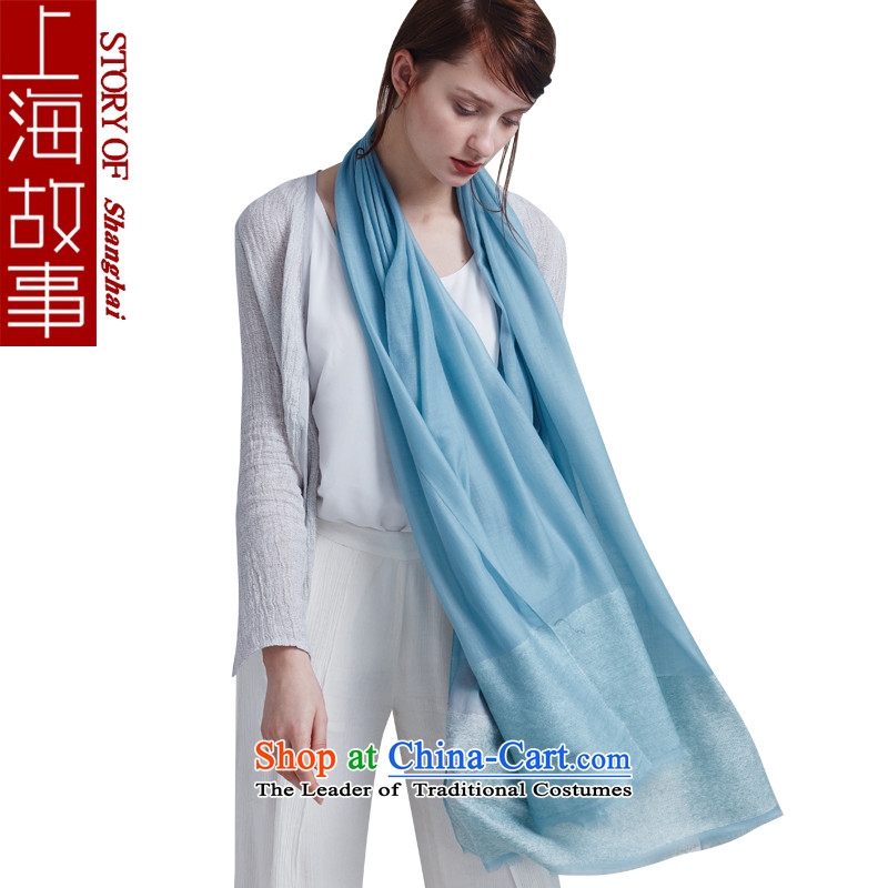 Shanghai Story pure color Ms. pashmina shawl a winter new large red Angola Light Blue