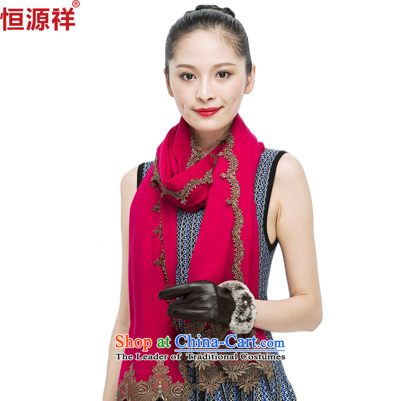 Ms. Cheung Hengyuan autumn and winter scarf Korean embroidery wooler scarf pure color long shawl dual-use the red