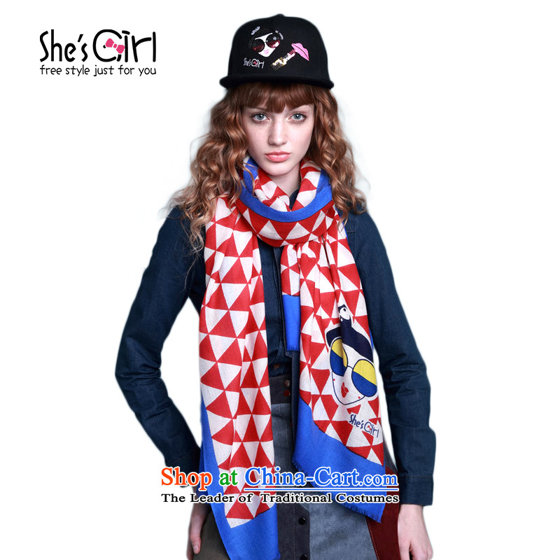 Mrs Ure child accessories she'sgirl Miss Paris Pope Triangle Plane Collision-color printing wool Fancy Scarf GSP95193200