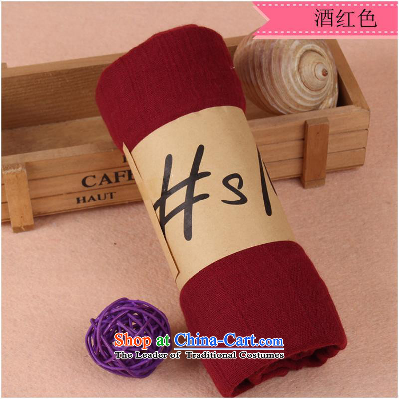 During the spring and autumn cotton linen solid color silk scarf of autumn and winter large silk scarf beach towel sunscreen masks in wine red scarf180*100CM
