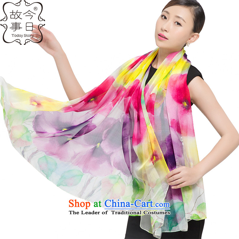 Today the new 2015 story silk chiffon digital poster large long towel long scarves, wild flowers ink 177001 shawl