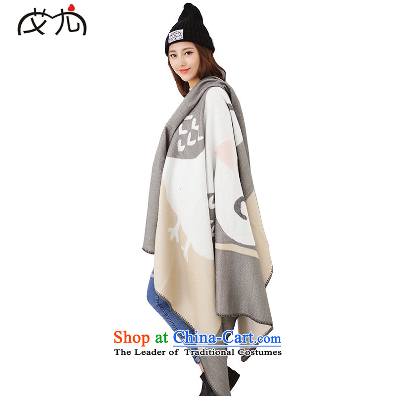 Europe and the autumn and winter new Korean Owl Fancy Scarf dual-use oversized emulation cashmere cloak the chador girl in the main color
