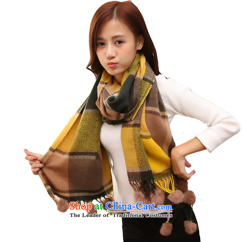 The Korean version of the cashmere Knitting scarves women emulation autumn and winter extralong warm rabbit hair ball scarf Sleek and versatile Knitting scarves plaid multifunction shawl4313beige card its