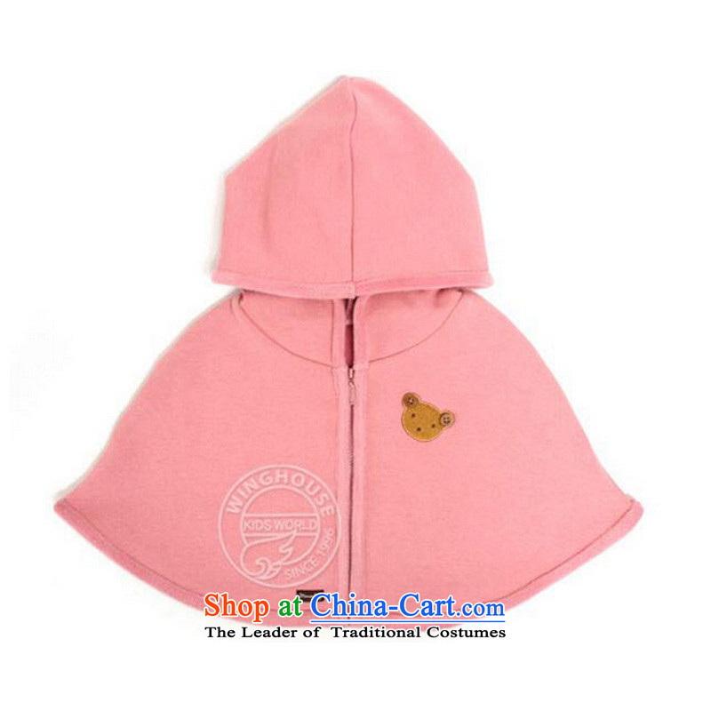 The new Korean children shawl boys and girls baby mantle of children's wear cloak CHILDREN HAT pink jacket