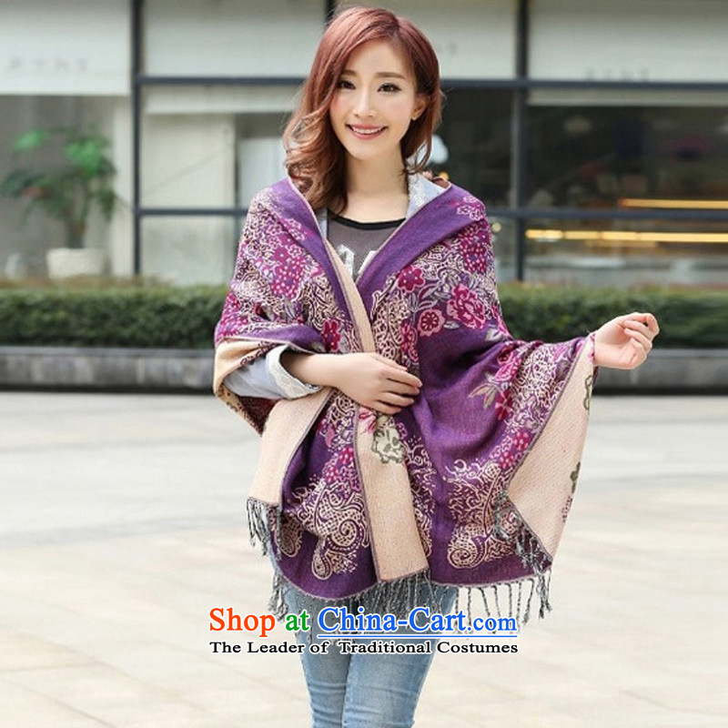 Sleek and versatile TAOYEE scarf of ethnic cotton linen scarf duplex thick Ms. Purple