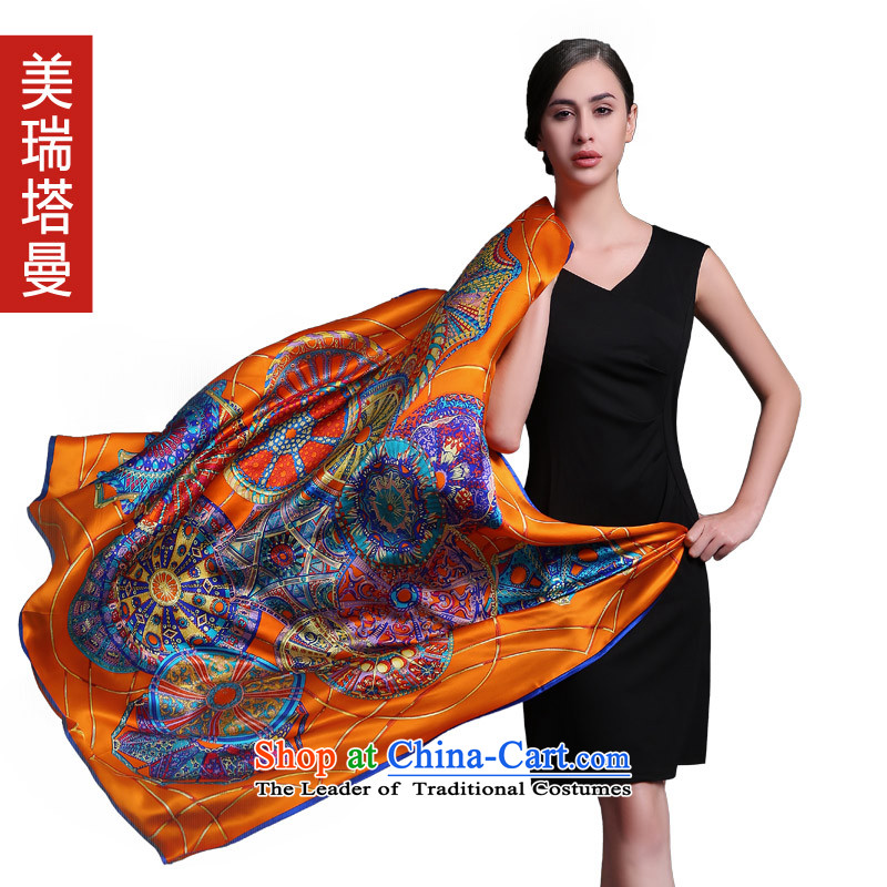 The United States, 2015 tagman new women's autumn and winter silk scarves and classy towel big herbs extract Orange Scarf