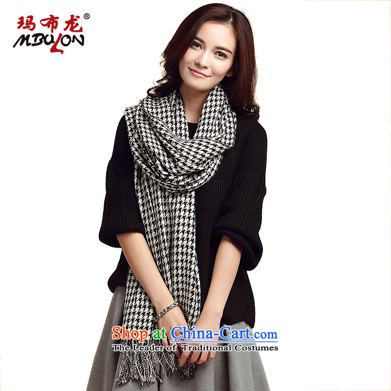 Wooler scarf girl, MBULON Australia wool 80 plaid warm Fancy Scarf two with black and white chidori Grid