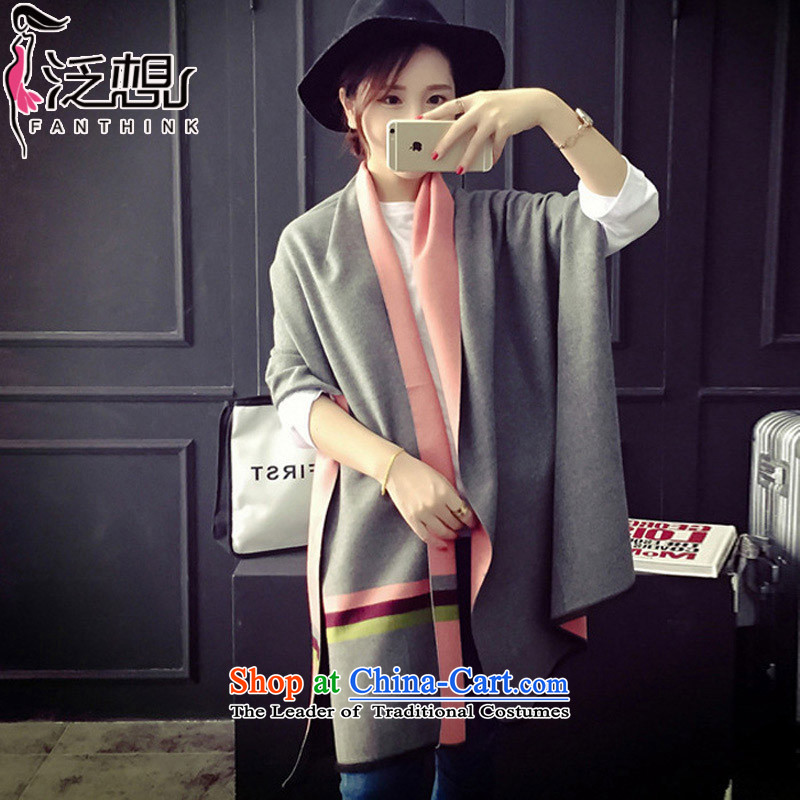 Pan want (winter 2015) new fanxiang) Korea white collar boutique pashmina female students Korean long thick Fancy Scarf dual-use light gray + Pink