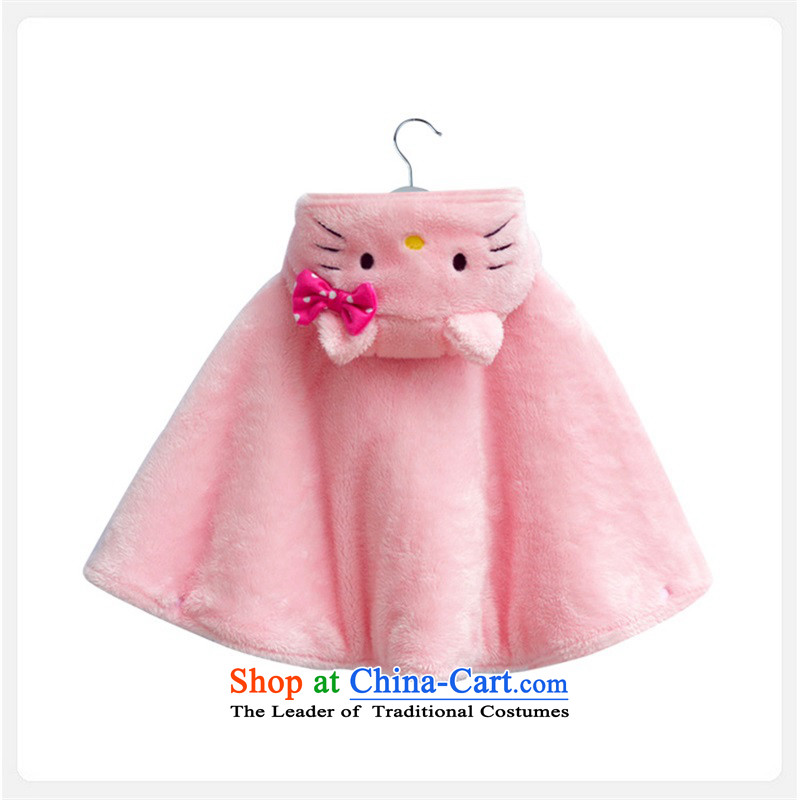 Kitty Cat shawl styling mantle baby mantle Baby Grand Prix funnels canopies children outside the autumn and winter clothing 90cm(0-2 pink-year-old)