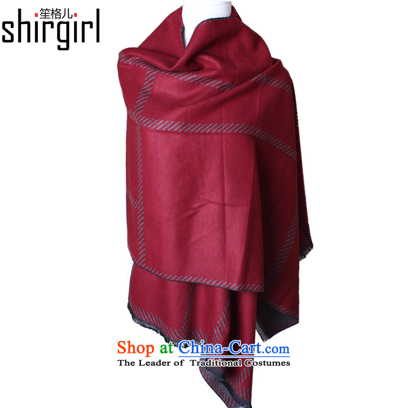 His Excellency Sandra (shirgirl Grid) Korean scarf pashmina shawl streaks female winter wild scarf two woolen scarves shawls and red stripes grid bourdeaux