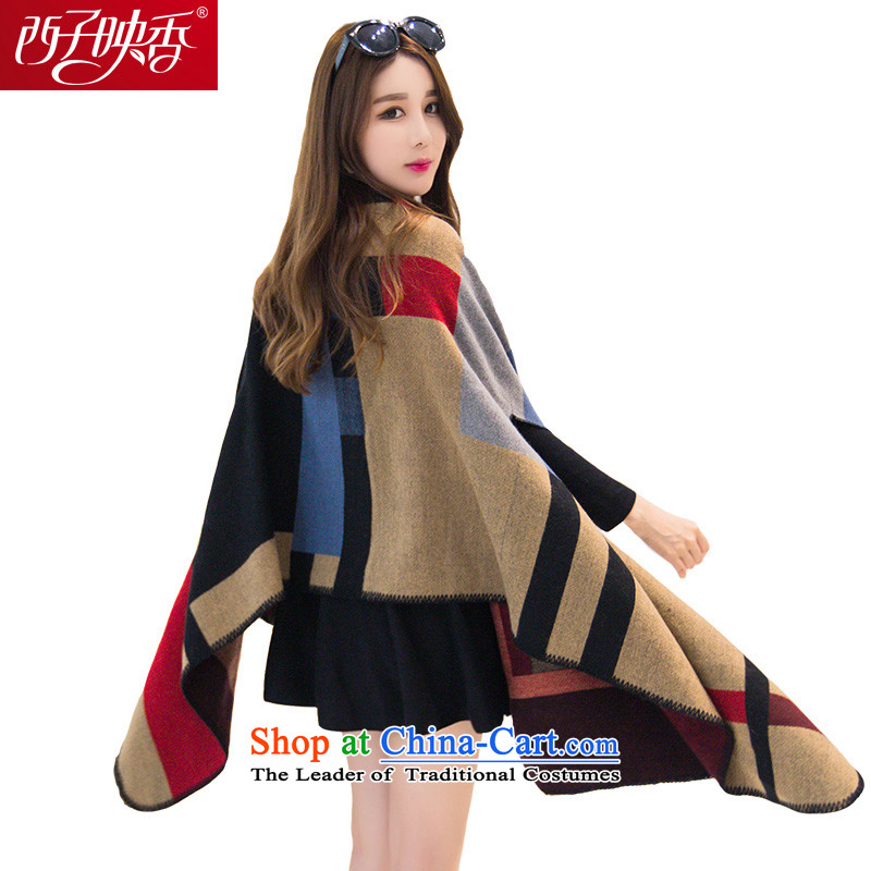 Hsitzu Hong scarf female autumn and winter Ms. new warm scarf leisure wild grid a air-conditioned rooms may be through increased shawl simple grid card its red