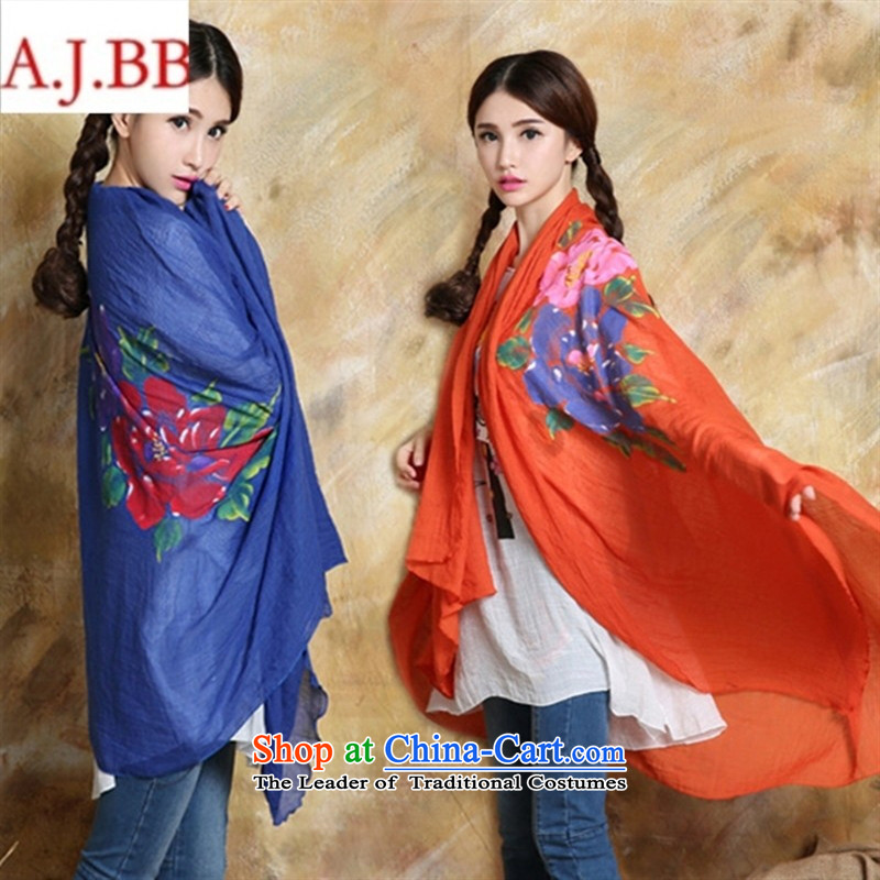 Orange Tysan *NQ8932 ethnic costumes accessories 2015 autumn and winter new scarf female hand-painted cotton linen and classy towel shoulder grand prix orange