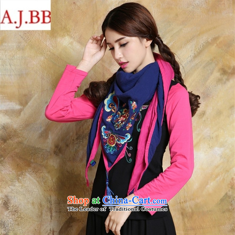 Orange Tysan *NQ8931 ethnic women 2015 autumn and winter new Embroidered scarf edging color plane collision black
