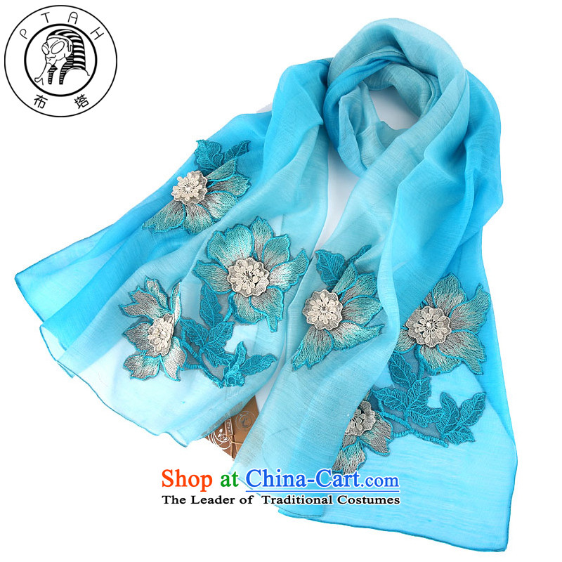 Buta wooler scarf female spring and autumn wild gradient silk scarf dark tissue herbs extract long winter shawl embroidered national three-dimensional blue