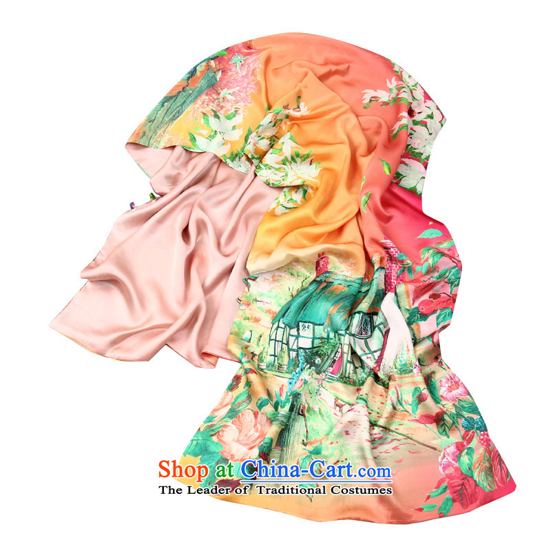 Shanghai Story autumn and winter buckle silk scarf silk herbs extract sided double Fancy Scarf idyllic Flowers