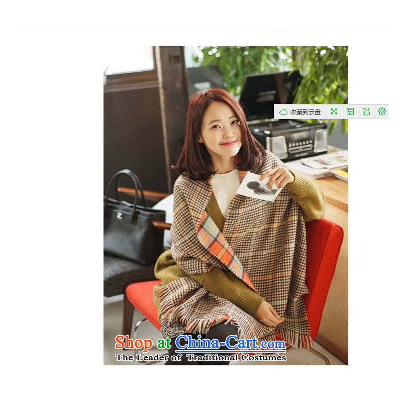 The Korean version of the new grid scarf women autumn and winter warm a Korean version of聽53 Orange