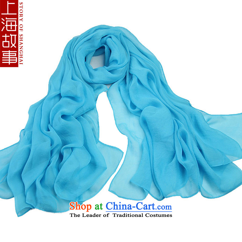 Shanghai Story Increase of Ms. silk scarf warm-colored neckerchief spring and summer wild beach towel air-conditioning shawl Sky Blue