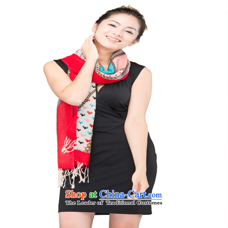 Hang Yuen Cheung-Worsted Stamp Pure Wool red love long Fancy Scarf WP319(1370-4#) gift box