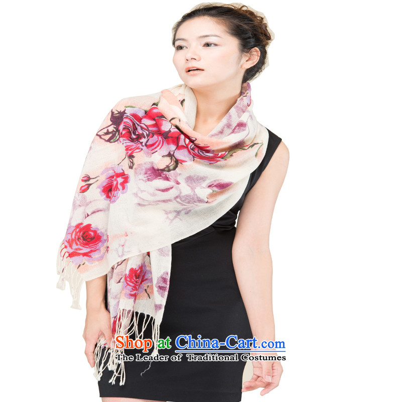 Hang Yuen Cheung-Worsted Stamp Pure Wool rose lover purple long Fancy Scarf WP319(1320-2#) gift box