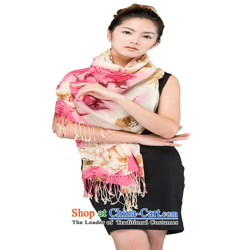 Hang Yuen Cheung-Worsted Stamp Pure Wool rose lover pink long Fancy Scarf WP319(1320-3#) gift box