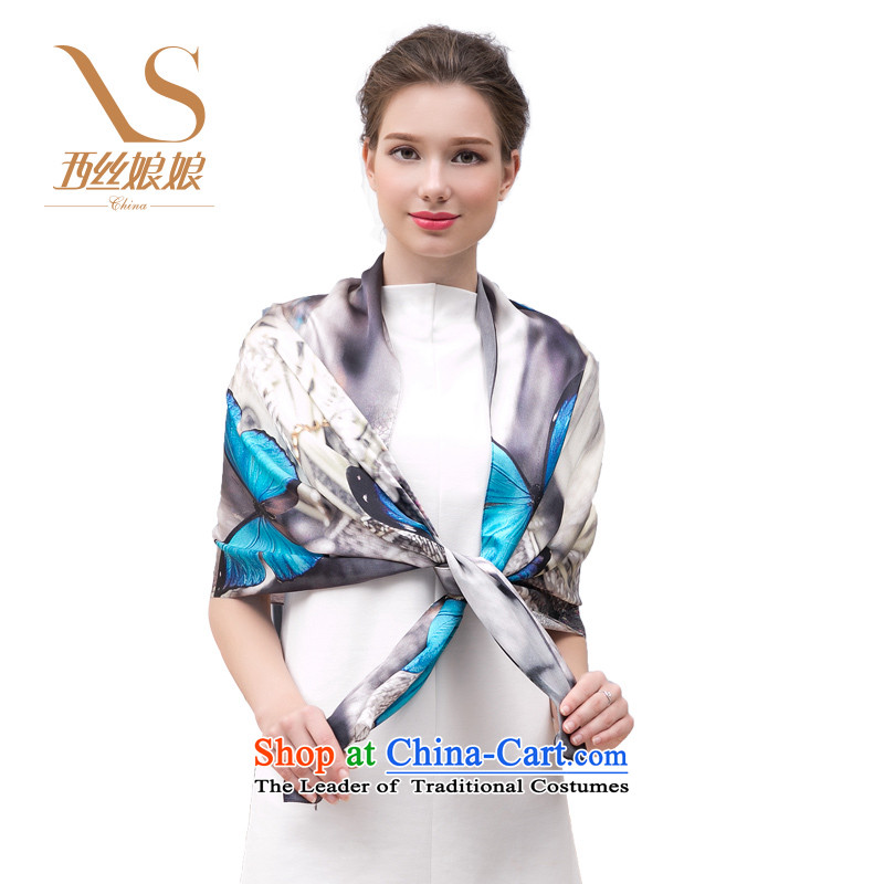 The population of the west in spring and autumn 2015 100 Hau sauna silk scarves upscale silk scarfs shawls dual-use long silk scarf blue Wing Seng Dream