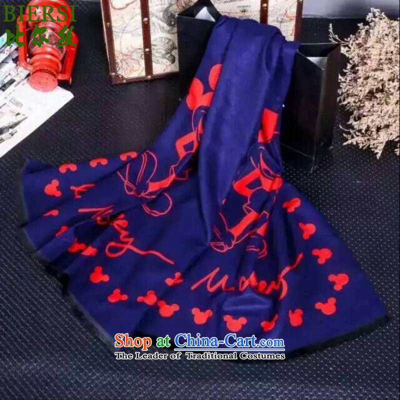 The bill was just a Korean fashion, autumn and winter new products Mickey cartoon decorations women cape long scarf ahhhre_Mickey _ navy blue red are code