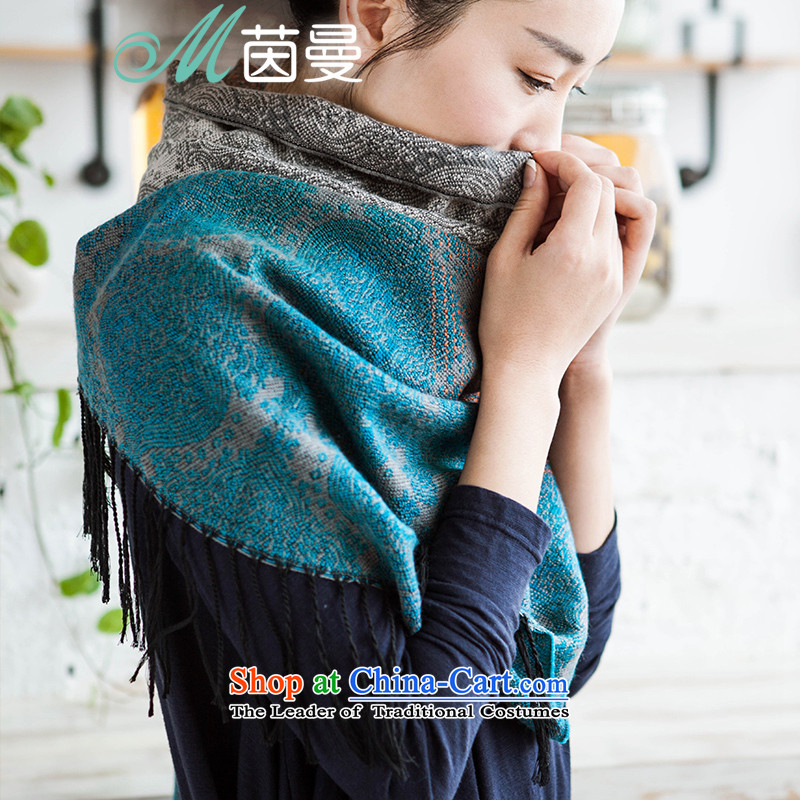 Athena Chu Cayman聽2015 autumn and winter new arts gradient jacquard shawl women and two electoral 853140179 scarves with blue blue as soon as possible.