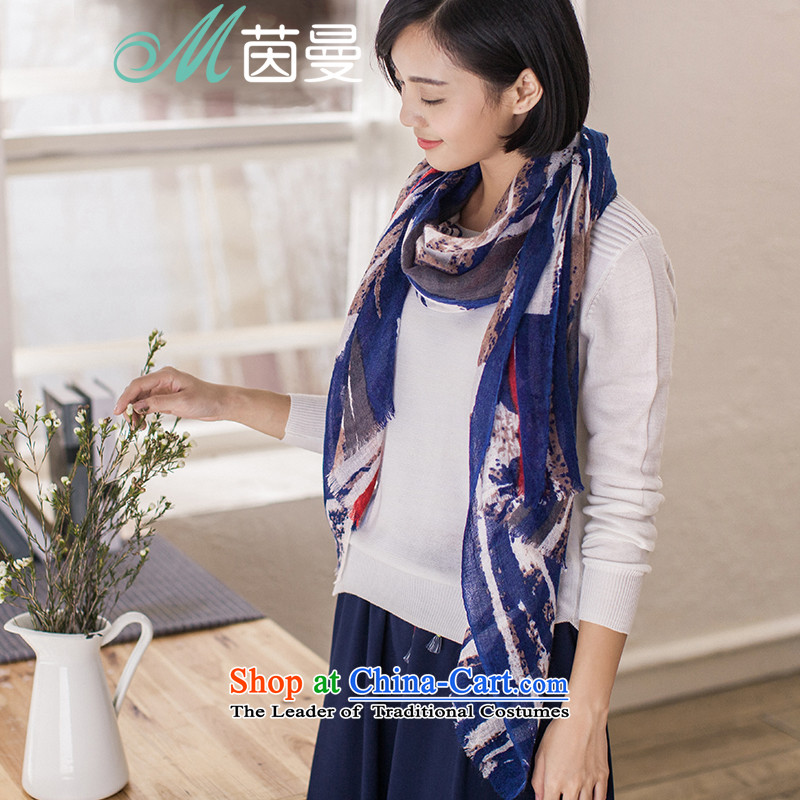 Athena Chu Cayman2015 autumn and winter new arts women (854140291 scarf as soon as possible all-white and blue, white and blue
