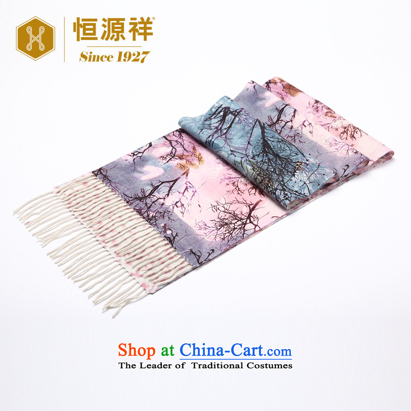 Ms. Yuen Cheung-hang duplex pashmina of autumn and winter 2015 New Pure Cashmere scarf shawl paintings stamp Thick Pink 30*176 stamp
