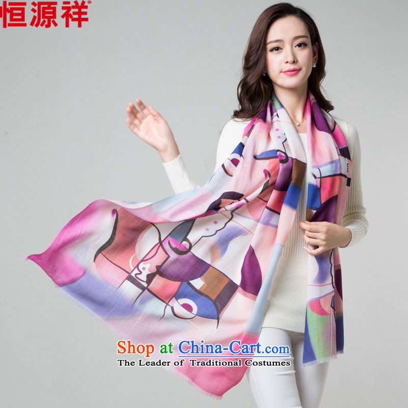 Hengyuan Cheung Pure Wool Fancy Scarf two with women 2015 autumn and winter Korean long towel stylish stamp poster a6040 Pink