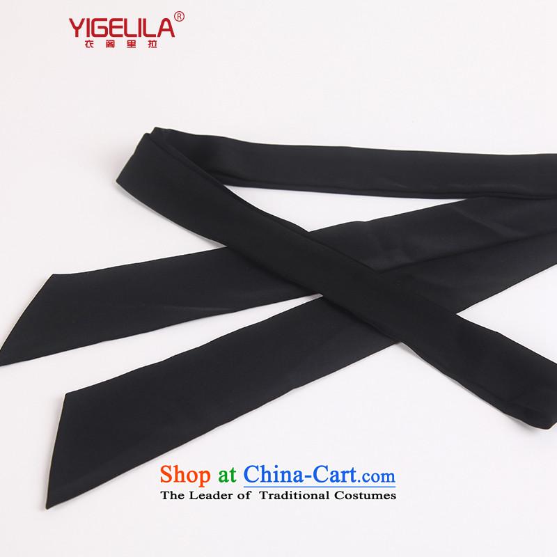Yi Ge lire aristocratic ladies temperament Pearl Satin-narrow version of the noble and elegant silk scarf elegant black silk scarf 220cm y010