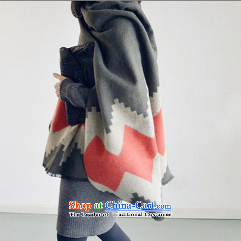 Double-sided Argyle Fancy Scarf women and two girls in the autumn and winter long thick dark gray200*70 scarf