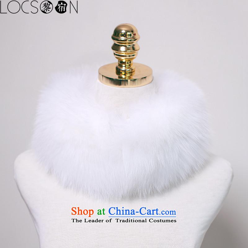 (Lai night) LOCSOON autumn and winter thick warm fox gross a fur muffler fox woolen cravat white collar gross