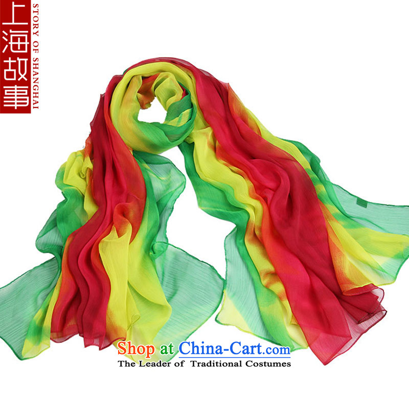 Shanghai Story silk scarf female spring and summer long chiffon sunscreen painted silk scarf female masks in air-conditioned shawl colorful handkerchief green