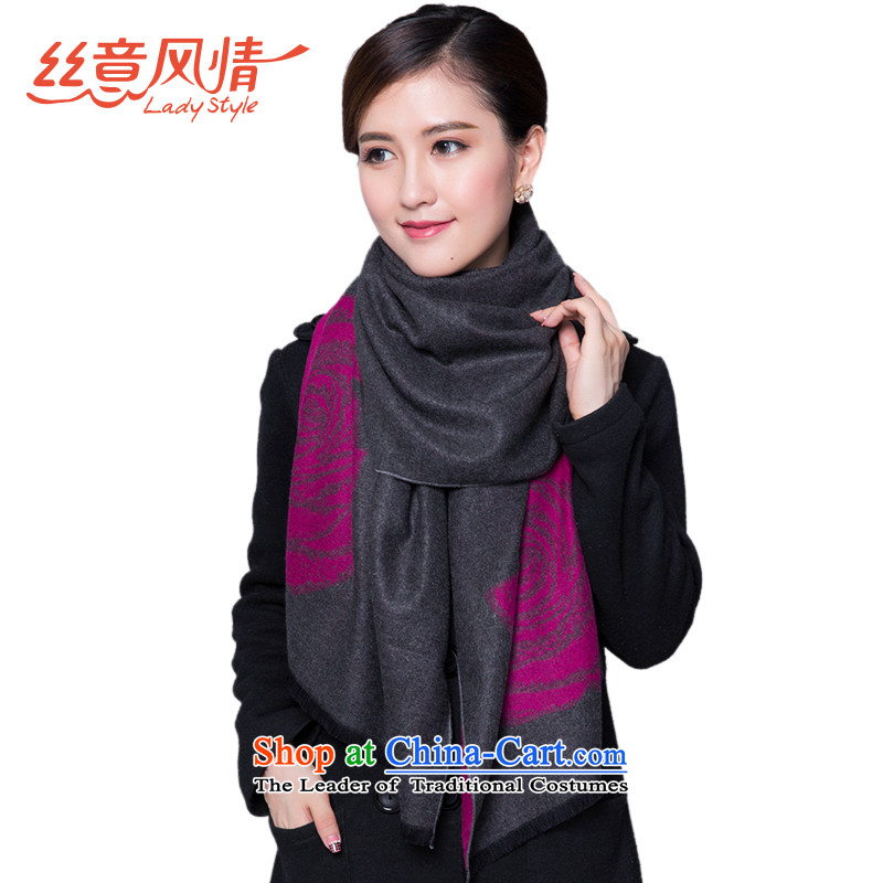 The population to a thick atmosphere of roses figure female two-sided pull gross shawl winter Jacquard Scarf warm dark gray rose