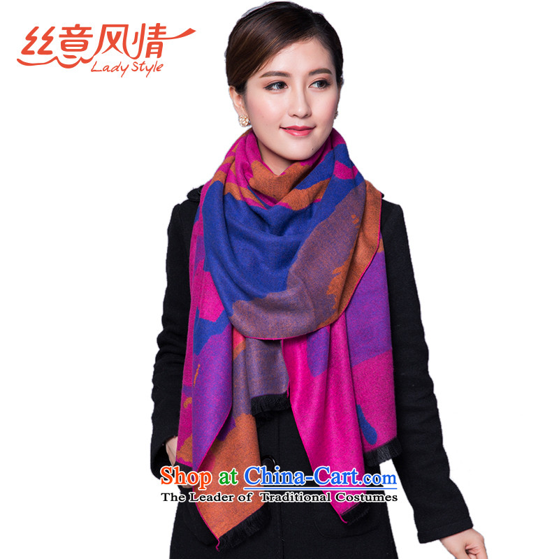 The population to feel a thick winter female two-sided pull gross shawl Jacquard Scarf of warm colorful red